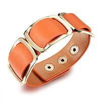 Кожаный браслет широкий женский, цвет оранжевый, фото 1
