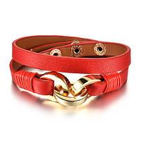 Женский кожаный браслет красного цвета на заклепках, фото 1