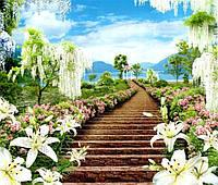 Фотообои из бумаги для стен 242*201 см , 15 листов, Пейзажи, Цветы, Цветочный Рай