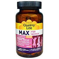 Country Life, Max, for Women, Multivitamin & Mineral Complex, With Iron, витамины + минералы для женщин 120 т