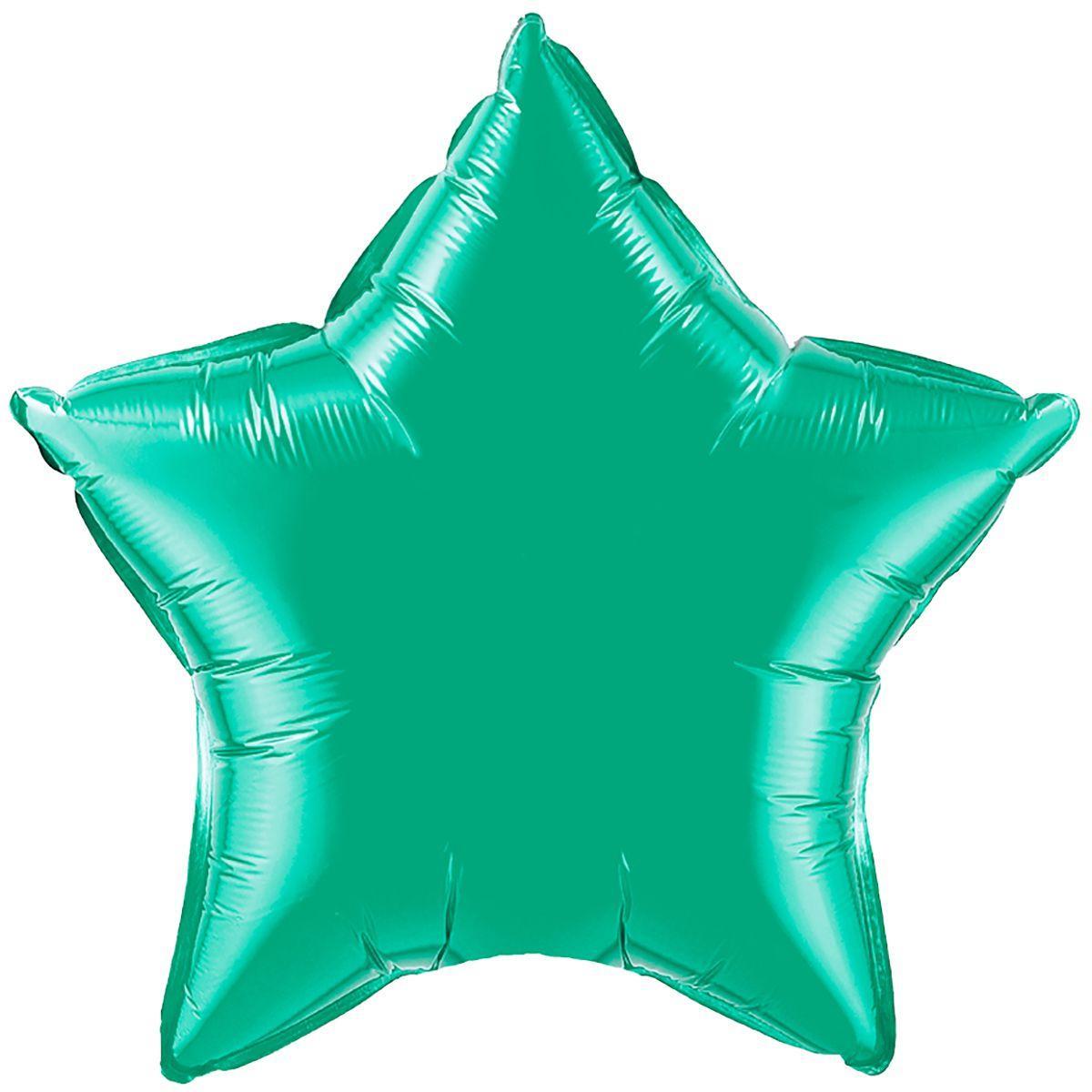 Шар фольгированный звезда 46 см изумруд металик (гелий)