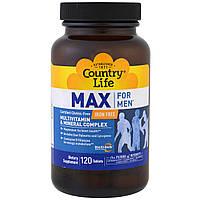 Country Life, Max, for men, Multivitamin & Mineral Complex, Iron free, витамины + минералы для мужчин 120 т