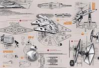 Фотообои на плотной полуглянцевой бумаге для стен 368*254 см из 8 листов: Детские, Звездные войны - чертежи кораблей