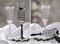 """Свадебные  бокалы """"Жених и Невеста"""" ажурные"""