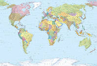 Фотообои флизелиновые на стену 368х248 см 4 листа: Карта мира. Komar XXL4-038