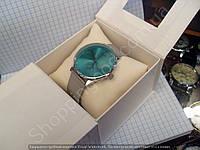 Женские часы Calvin Klein 114941 серебристые с бирюзой диаметр 4 см плетеный металлический браслет