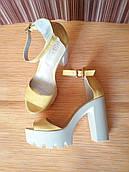 38-24,5 см Босоножки женские кожаные на высоком каблуке, из натуральной кожи, натуральная кожа