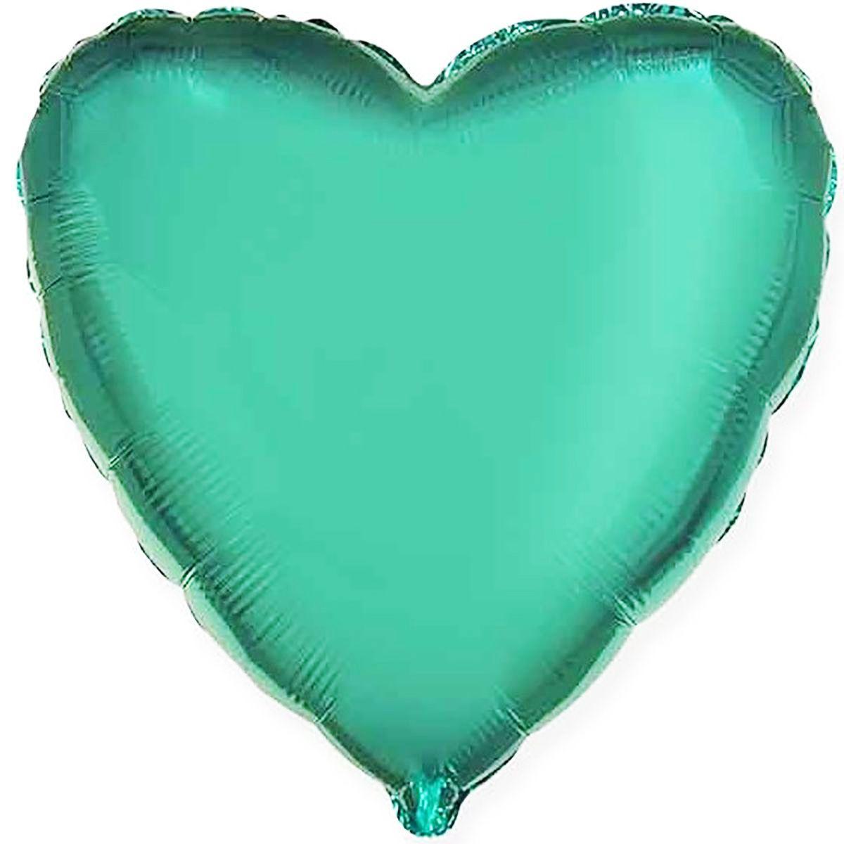 Шар фольгированный сердце 46 см изумруд гелий