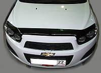 Дефлектор капота, мухобойка Chevrolet AVEO 12- темный SIM