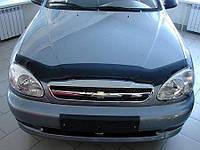 Дефлектор капота, мухобойка Chevrolet LANOS 1998-, ЗАЗ Сенс темный SIM