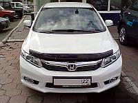 Дефлектор капота, мухобойка HONDA Civic 2012- седан, темный SIM