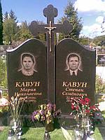 Гранитный памятник  на двоих с фигурным крестом