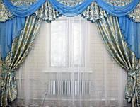 Готовые шторы с ламбрекеном в спальню