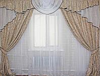 Красивый комплект штор с ламбрикеном