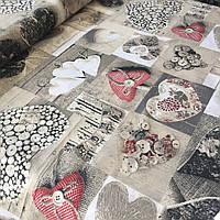 Бязь Тильда с сердцами и пуговицами, ш. 220 см, фото 1