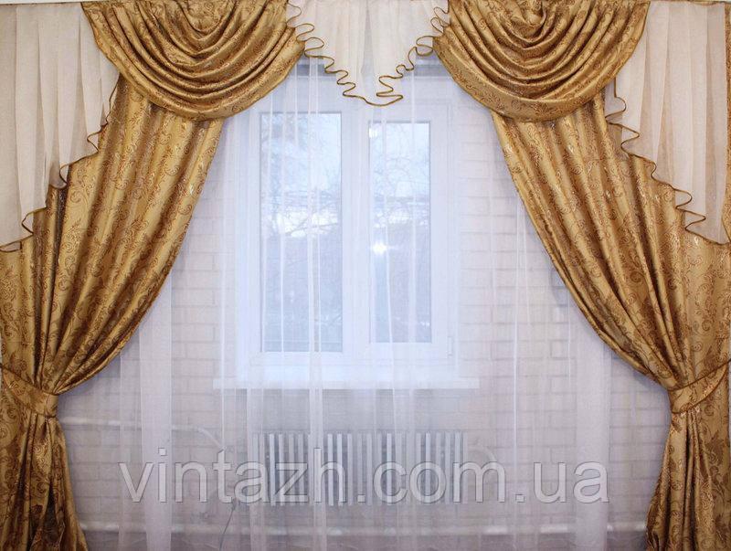Комплект шторы и ламбрекен в спальню