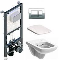 Комплект інсталяції з унітазом Koller Pool Alcora + кнопка Kvadro + унітаз KOLO Nova Pro Remfree Soft-Close