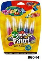 """Ручка """"neon"""" с кисточкой наполненная краской, 5 цветов, ТМ Colorino(66044)"""