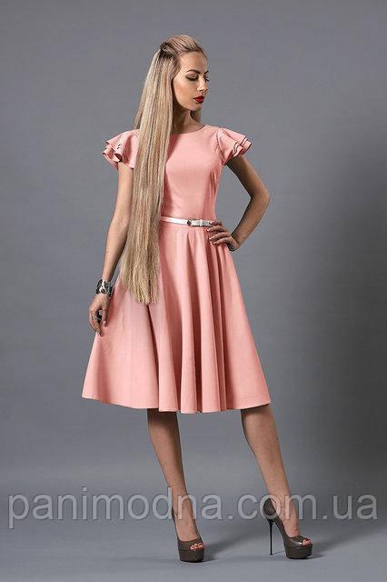 """Нежно-розовое платье с тонким пояском - """"Пиона""""  код 522"""