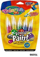 """Ручка """"JUMBO"""" с кисточкой наполненная краской, с блестками, 5 цветов, ТМ Colorino(66051)"""