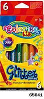 Маркеры с блестками, 6 цветов,9,5*19,5*1см ТМ Colorino(65641)