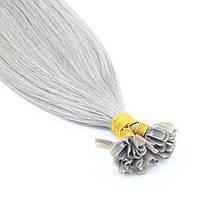 Прядь натуральных волос на кератиновой капсуле для наращивания серебристо-серая, фото 1