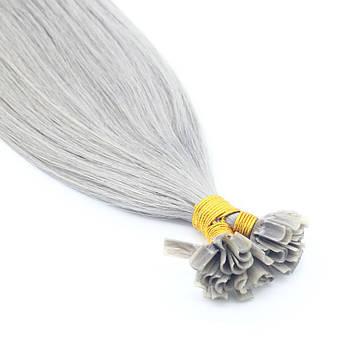 Прядь натуральных волос на кератиновой капсуле для наращивания серебристо-серая