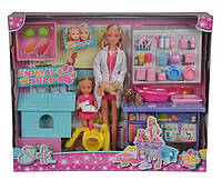 """Кукольный набор Simba Штеффи и Эви """"Ветеринарная клиника"""" (5733040)"""