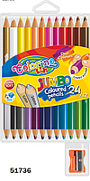 "Карандаши ""JUMBO"" цветные, круглые, 12шт.=24 цвета, ТМ Colorino(51736)"