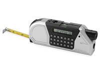 Мультиинструмент: рулетка на 2,5 м с фиксатором, линейка, уровень, калькулятор, градуированный проектор для разметки линий
