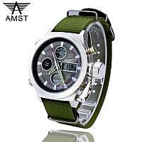 Ударопрочные кварцевые армейские часы AMST Green Оригинал