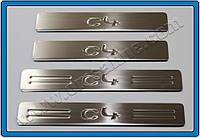 Накладки на пороги Citroen C4 HB 5D, SD (2005-2010) (нерж.) 4 шт.