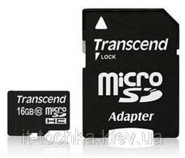Карта памяти transcend microsd 16 Гб класс 10 + sd адаптер (ts16gusdhc10)