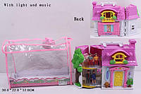 Кукольный дом, с куклами батар., муз. свет., сумка 30*22*12 (30шт)(08963)