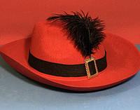 Карнавальная Шляпа Головной Убор Мушкетера с Пером для Вечеринки