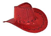 Карнавальная Шляпа Ковбойская с Пайетками Головной Убор Ковбой Пайетки для Вечеринки