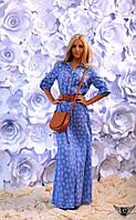 Платье-рубашка в пол с цветочным принтом Цвета: