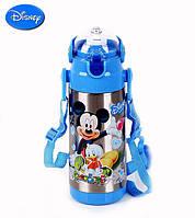 Детский Вакуумный Термос с Трубочкой Поилкой ZK G 603 Blue Disney Дисней 350 мл