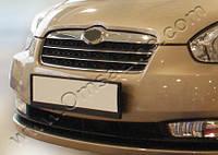 Накладки на решетку радиатора Hyundai Accent SD (06.06-) (нерж.) 2 шт