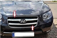 Накладки на решетку радиатора Hyundai Santa Fe (2007-2010) (нерж.) 2 шт