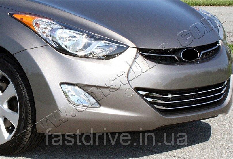 Накладки на решетку радиатора Hyundai Elantra (2011-) (нерж.) 3 шт