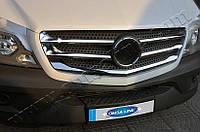 Накладки на решетку радиатора Mercedes Sprinter 2013- (нерж.) 5 шт