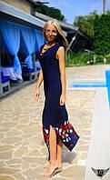 Платье в пол с открытыми плечами и принтом снизу Цвета: