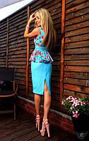 Женский костюм двоечка блузка с юбкой миди персик