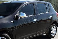 Накладки на зеркала Dacia, Renault Sandero 2013- нерж. 2 шт. Omsa
