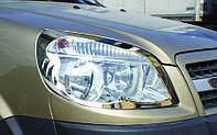 Накладки на фары Fiat Doblo 2006-2010 (2 шт. нерж.) Omsa