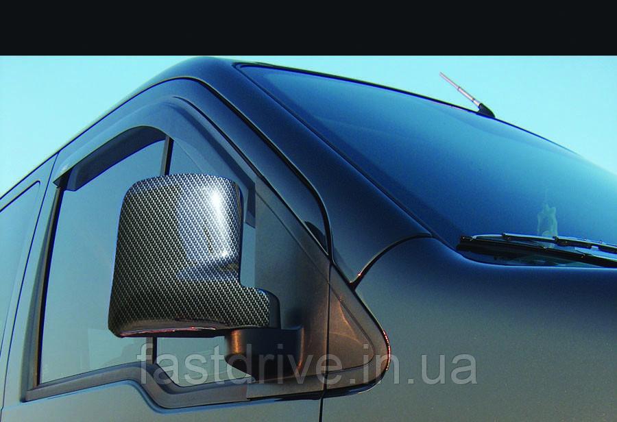 Накладки на зеркала Ford Connect (2002-2010) (2 шт, ABS карбон.) - Omsa