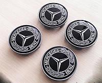 Заглушки дисков 65мм Mercedes черные