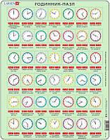 Пазл рамка-вкладыш Учимся определять время украинский язык (42 эл.), серия Макси, Larsen