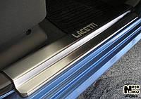 Накладки на пороги Chevrolet Lacetti 2004- (4  шт, нерж.) - Nataniko Premium